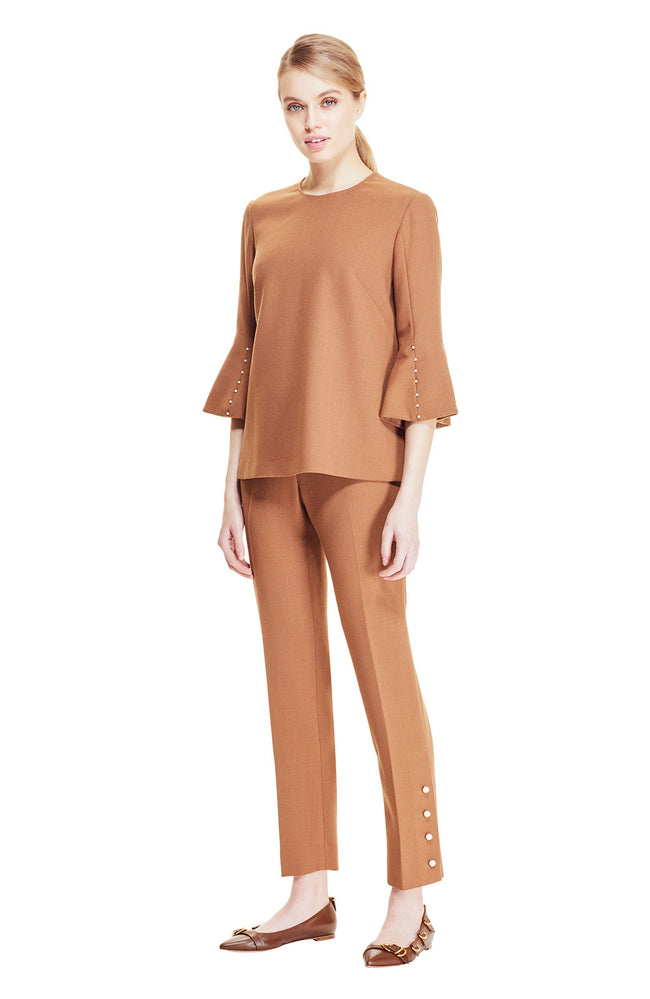 Wool Crepe Pearl Button Pant