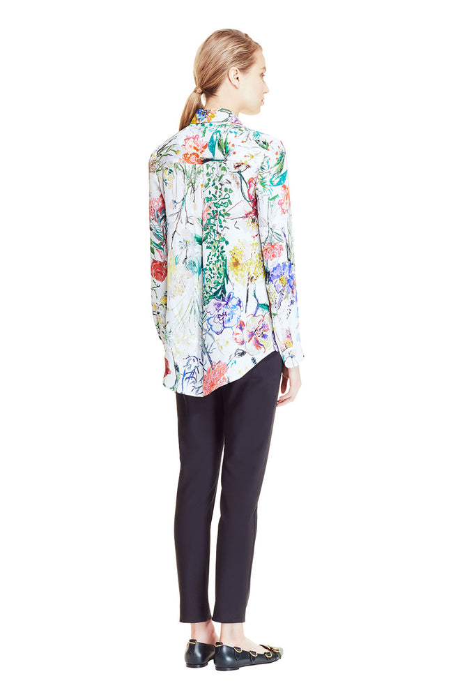 Wild Flower Georgette Button Down Blouse