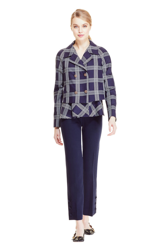 Stretch Wool Plaid Cropped Flounce Hem Jacket