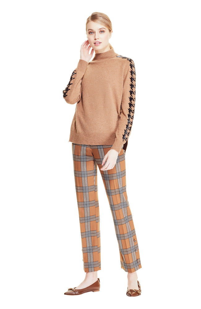 Stretch Wool Plaid Button Placket Pant