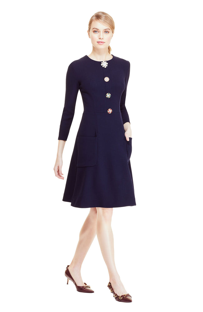 Wool Crepe Dog Detailed Button A-Line Dress