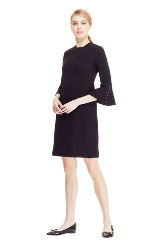 Wool Crepe Pearl Sleeve Tunic Dress