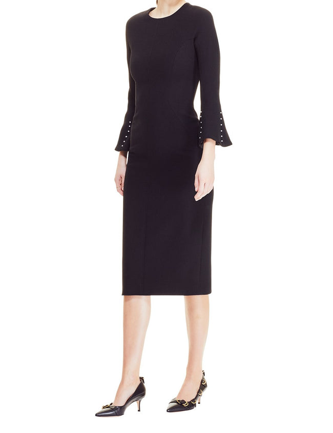 Wool Crepe Pearl Sleeve Seamed Sheath