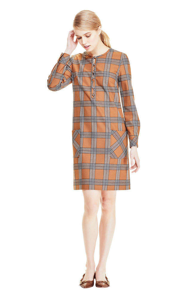 Stretch Wool Plaid Button Front Tunic Dress
