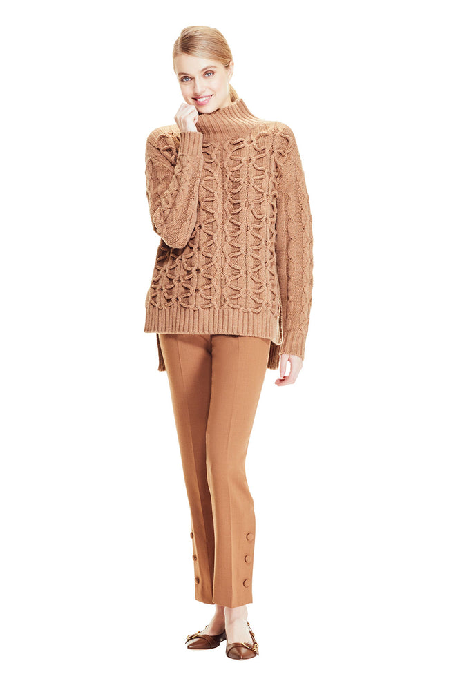Cable Knit Textured Turtleneck