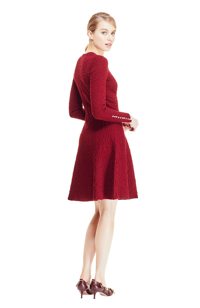 Textured Knit Long Sleeve Full Skirt Dress