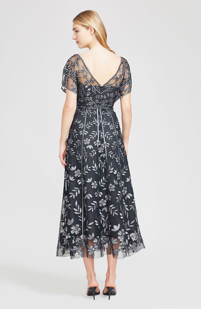Vine Embroidered Tulle Flutter Sleeve V-Neck Dress