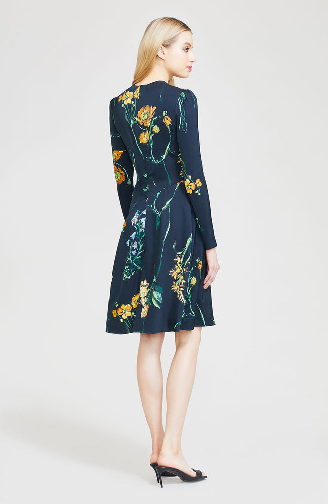 Floral Crepe Asymmetrical Seamed A-line Dress