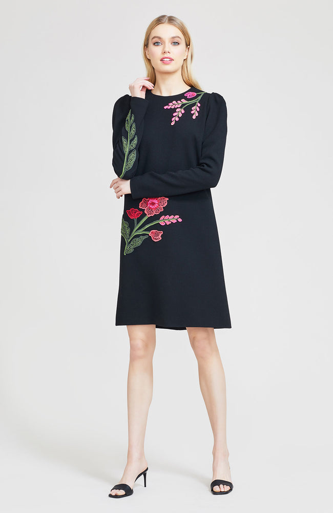 Floral Embroidered Wool Crepe Long Sleeve Tunic Dress