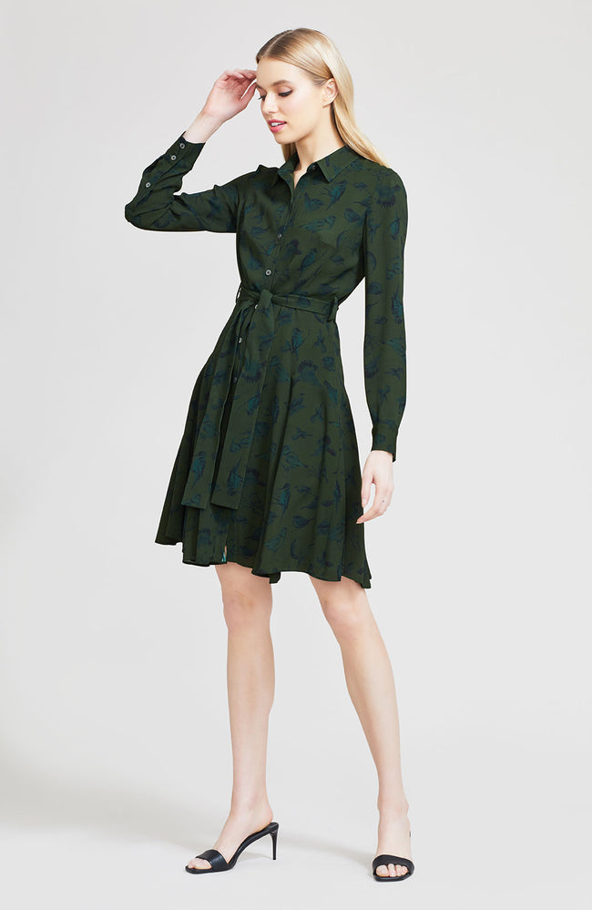 Birds of a Feather Georgette Shirt Dress