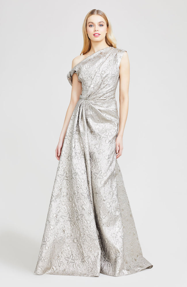 Metallic Matelasse Off The Shoulder Gown