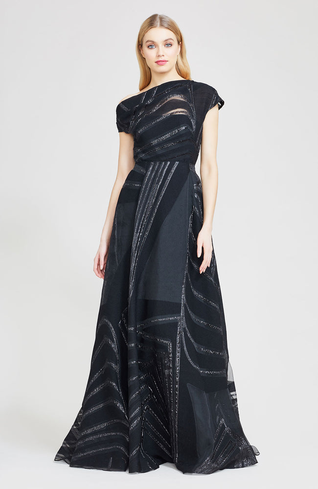Linear Fil Coupe Off The Shoulder Gown