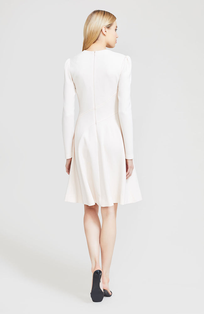 Wool Crepe Asymmetrical Seamed Dress