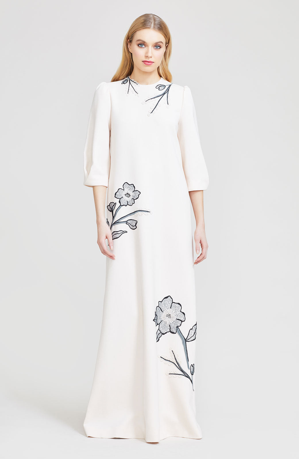 Floral Embroidered Wool Crepe Long Sleeve Gown