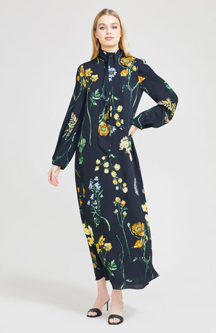 Floral Georgette Full Sleeve Midi Dress with Detachable Collar