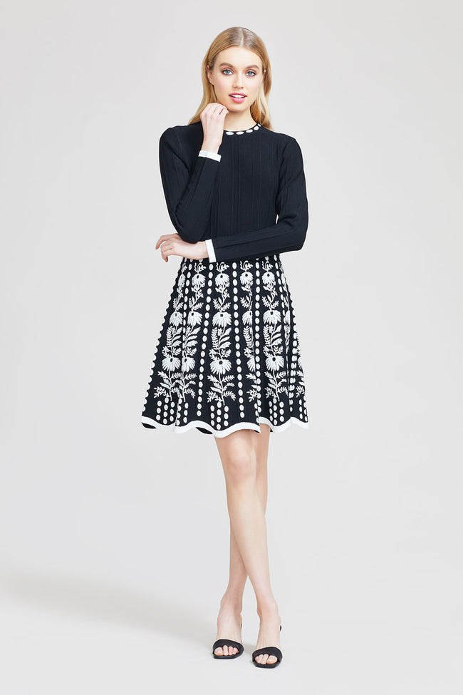 Floral Jacquard Full Skirt Knit Dress