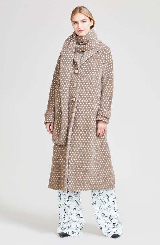 Dotted Mohair Coat with Detachable Scarf