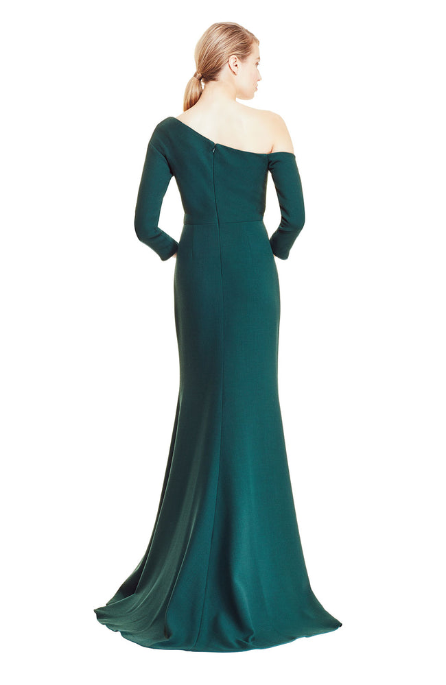 Wool Crepe Gown with Ruched Neckline