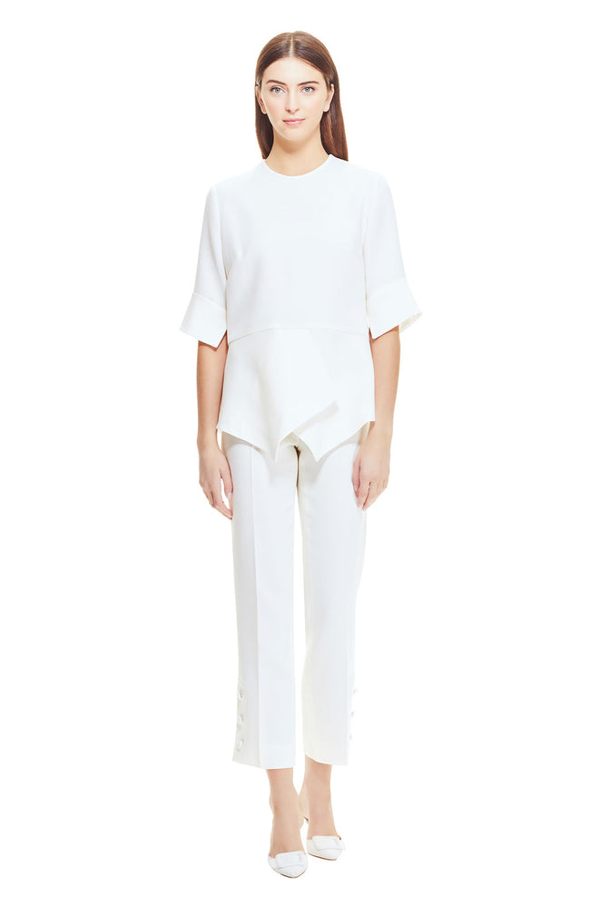 Wool Crepe Button Placket Pant