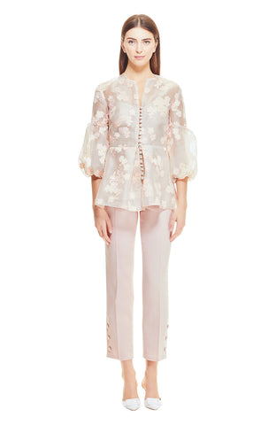 Organza Dotted Floral Fil Coupe Full Sleeve Button Front Top