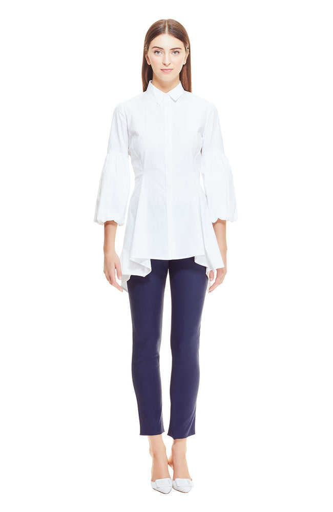 Stretch Cotton Poplin Puff Sleeve Shirt