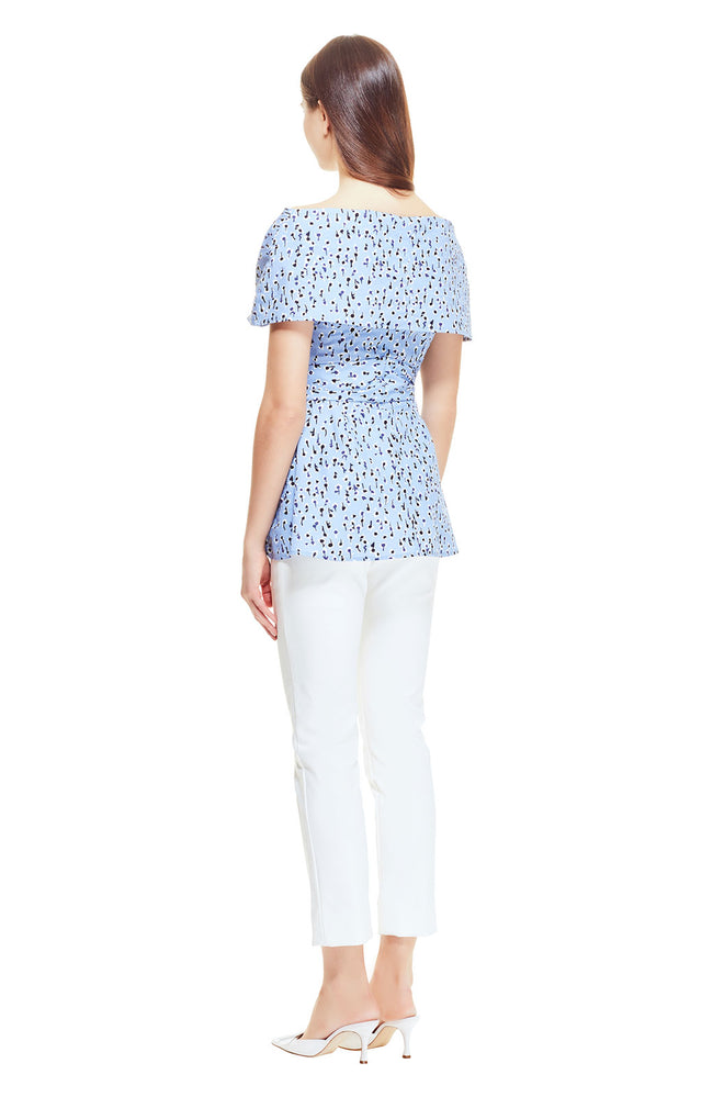 Dotted Floral Poplin Open Neck Wrap Top
