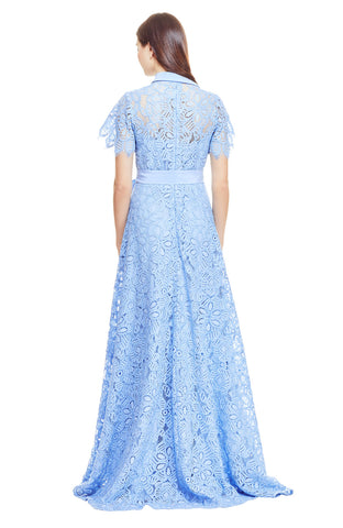Floral Corded Lace Flutter Sleeve Gown