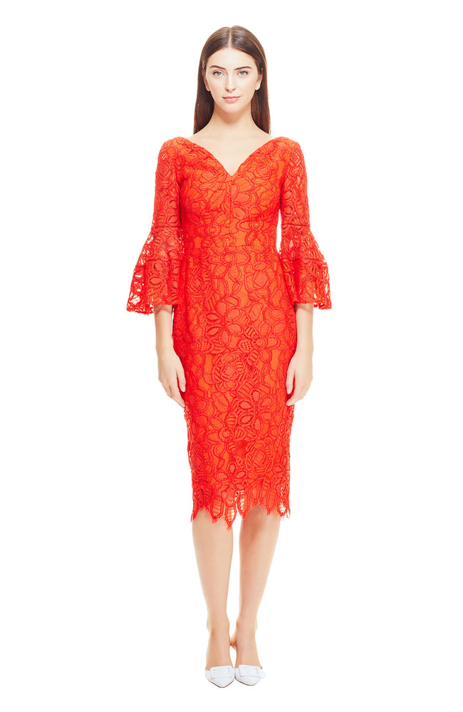 Floral Corded Lace V-Neck Flutter Sleeve Dress