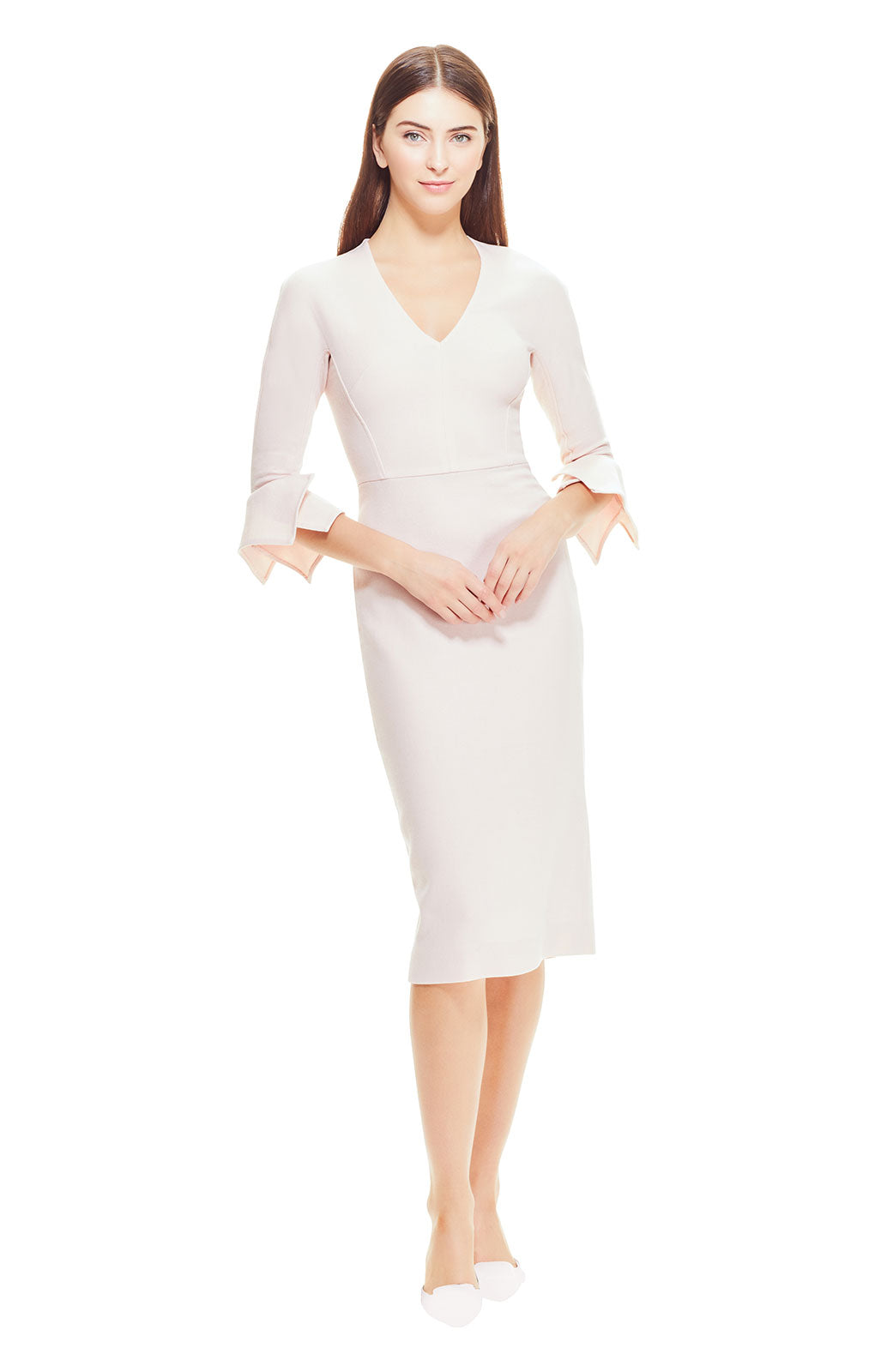 Wool Crepe Handkerchief Sleeve Fitted V-Neck Sheath