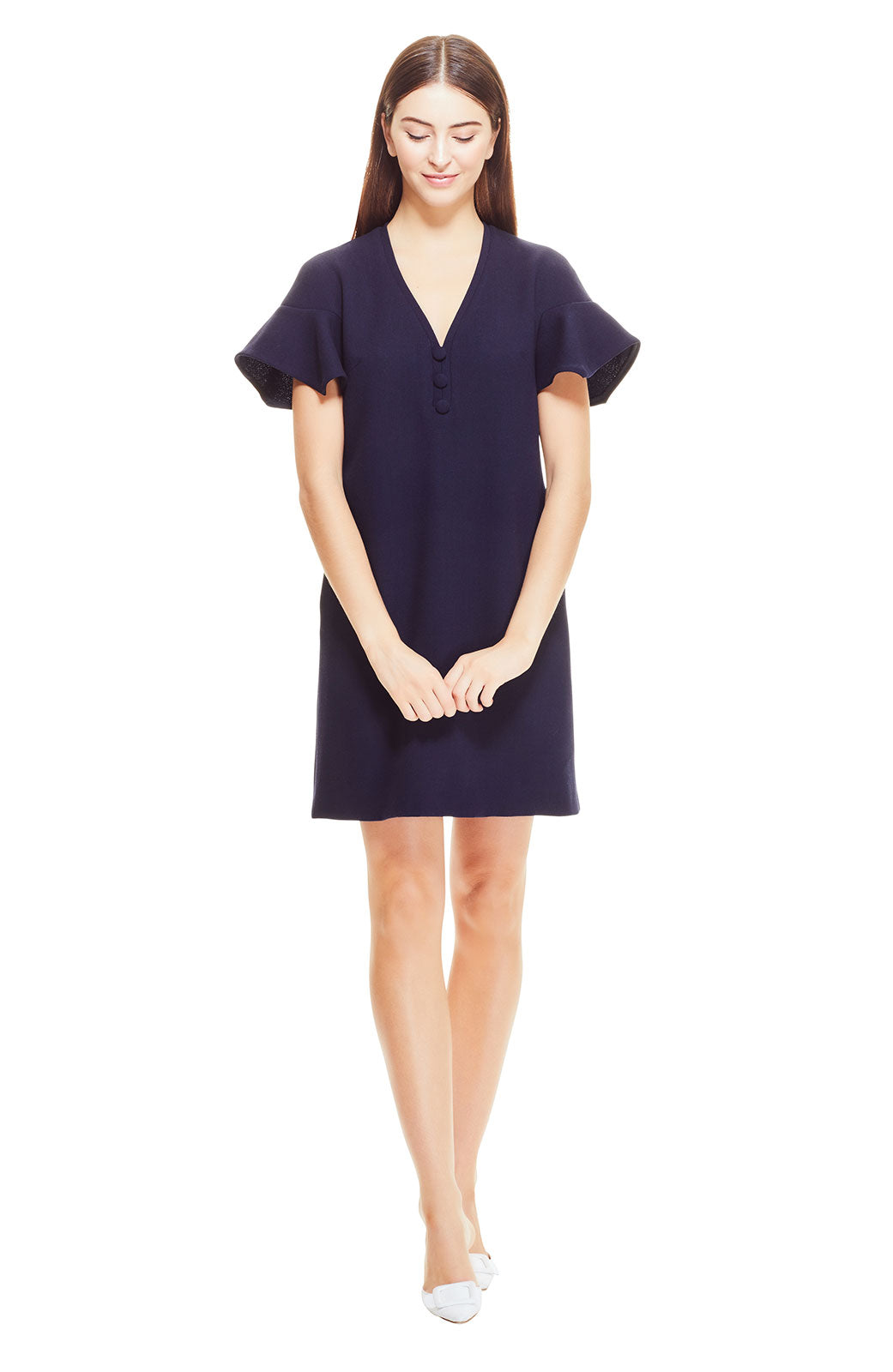 Wool Crepe Handkerchief Sleeve Tunic Dress