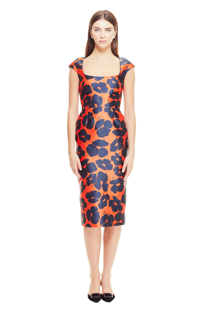 Oversized Floral Printed Silk Open Neck Sheath