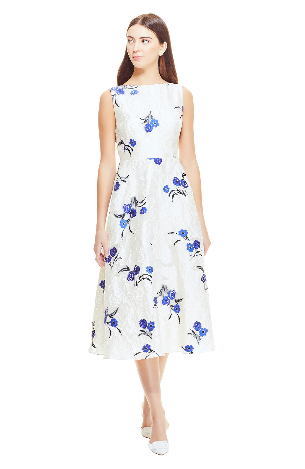 Textured Floral Fil Coupe Boat Neck Full Skirt Dress