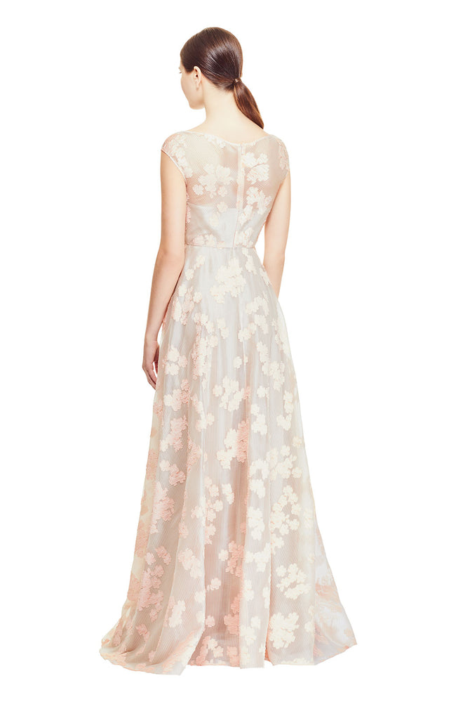 Organza Dotted Floral Fil Coupe Open Neck Full Skirt Gown