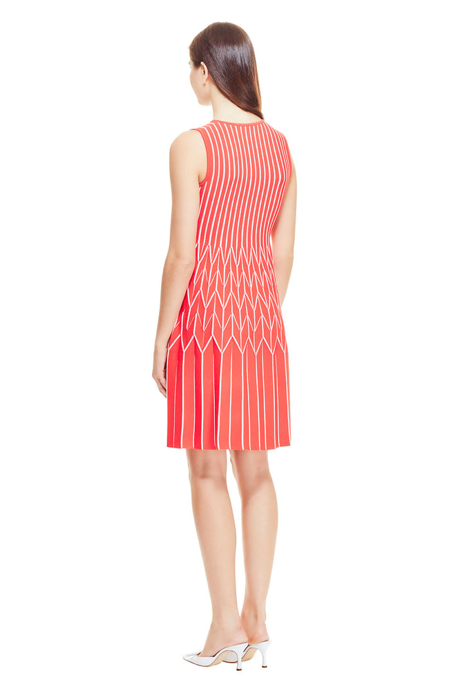 Pinstripe Knit Pleated Skirt Dress