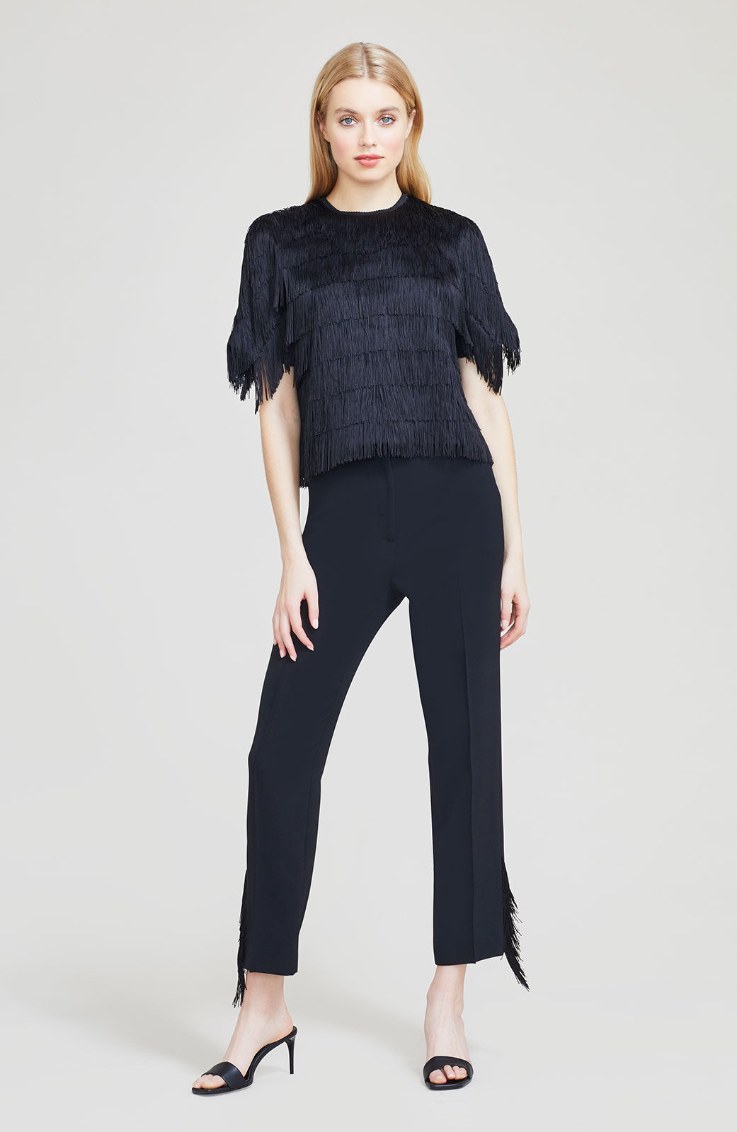 Embroidered Fringe Fluid Crepe High Waist Pant