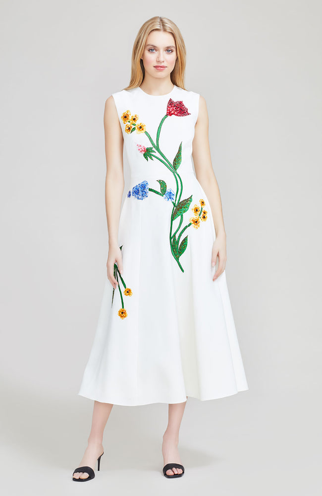 Floral Embroidered Crepe Full Skirt Dress