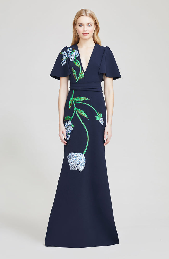 Floral Embroidered Crepe Flutter Sleeve Gown