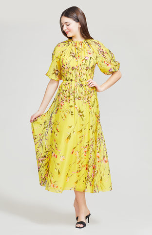 Wildflower Printed Voile Blouson Bodice Dress