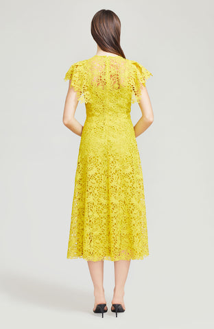 Wildflower Guipure Lace Flutter Sleeve Midi Dress