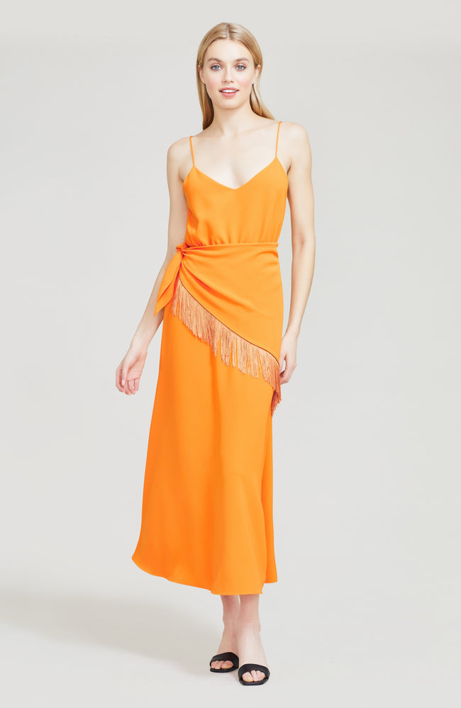 Embroidered Fringe Fluid Crepe Handkerchief Midi Dress