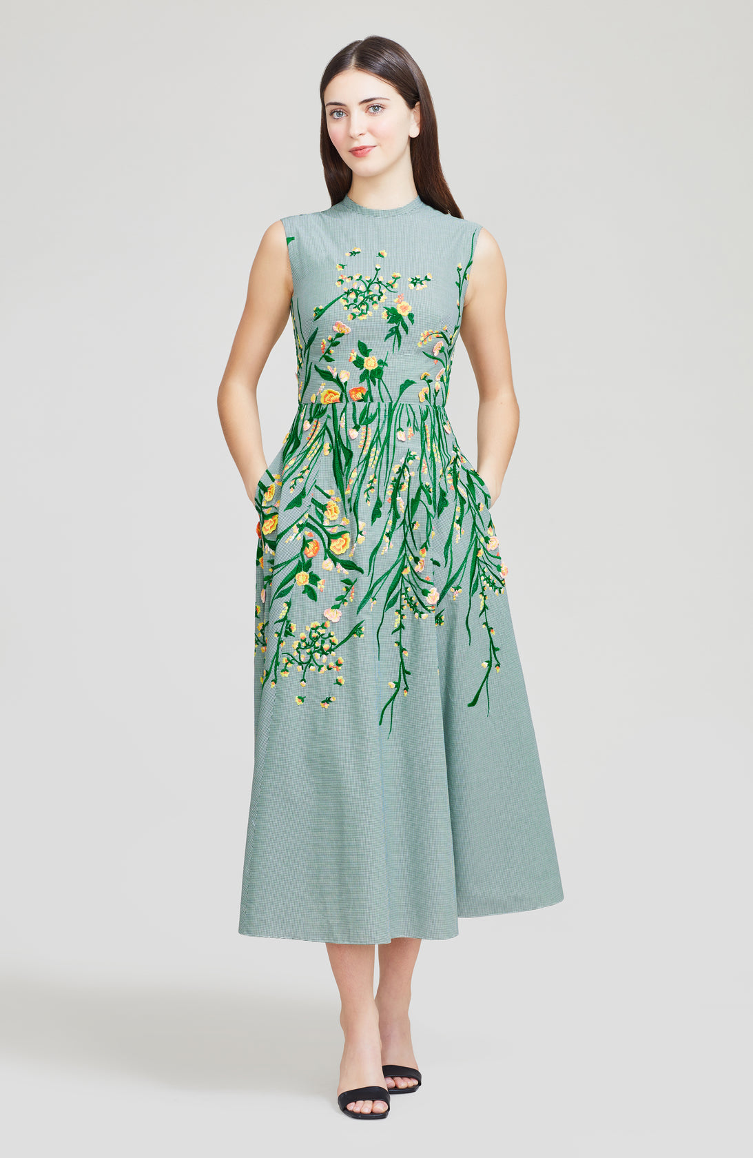 Floral Embroidered Cotton Full Skirt Dress