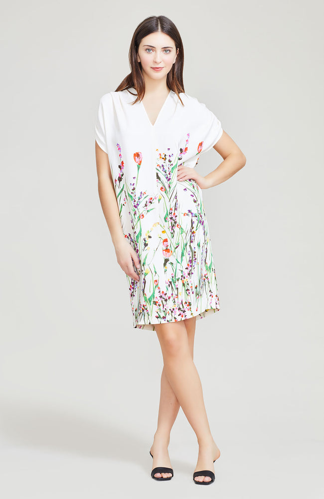 Wildflower Printed Crepe V-Neck Tunic Dress