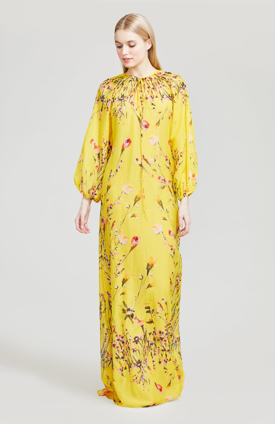 Wildflower Printed Voile Full Sleeve Gown