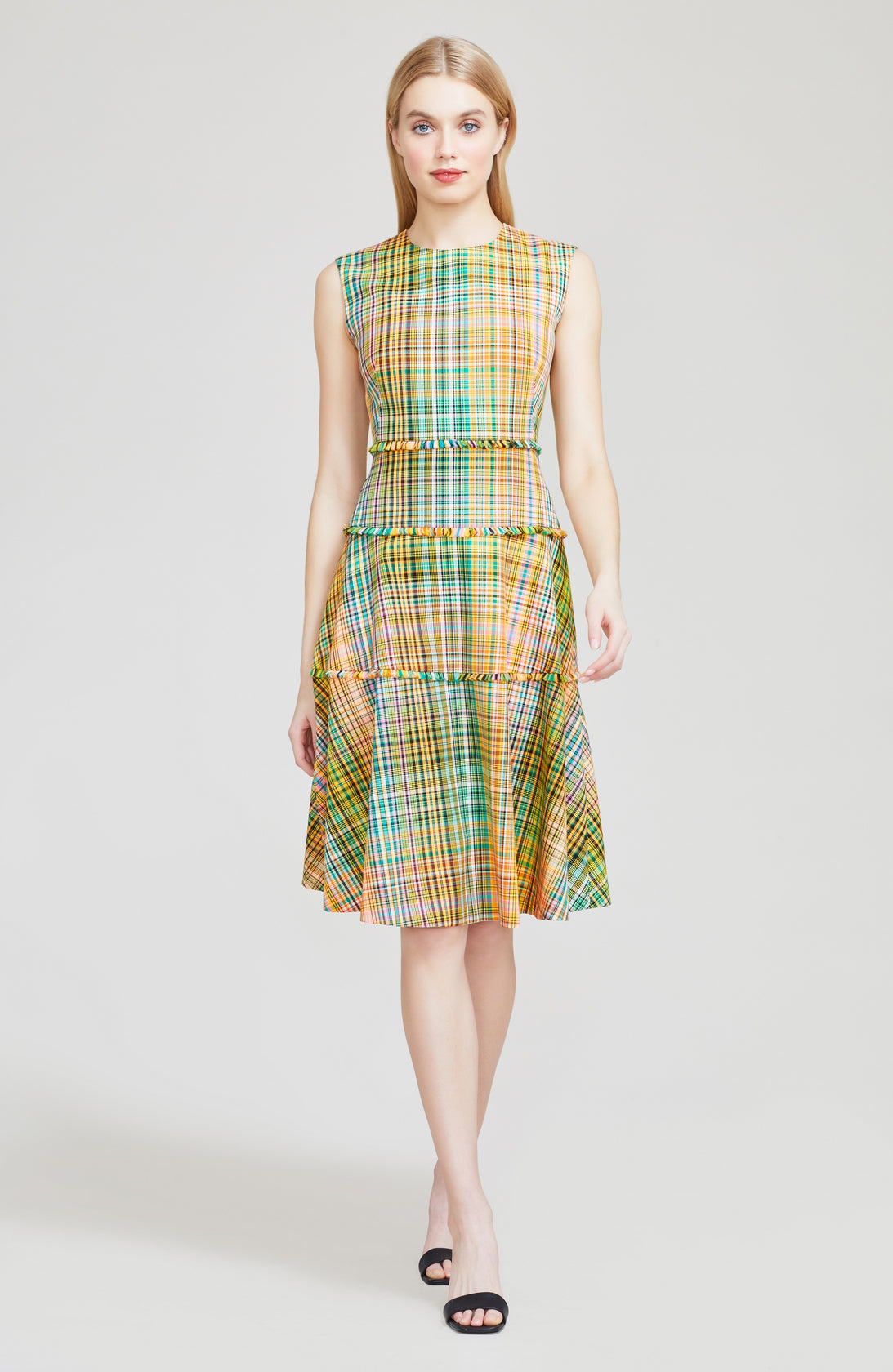 Handloomed Plaid Tiered Dress