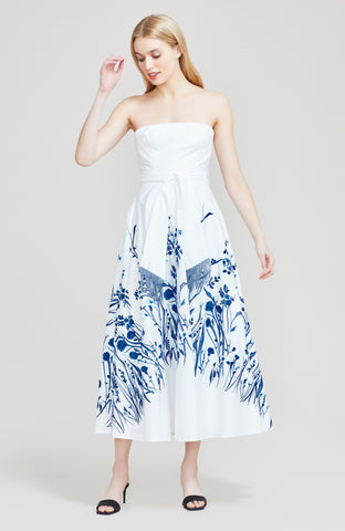 Floral Embroidered Cotton Strapless Full Skirt Dress