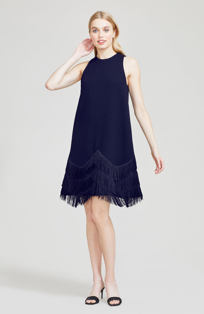 Embroidered Fringe Wool Crepe A-Line Dress
