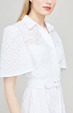 Diamond Eyelet Shirt Dress