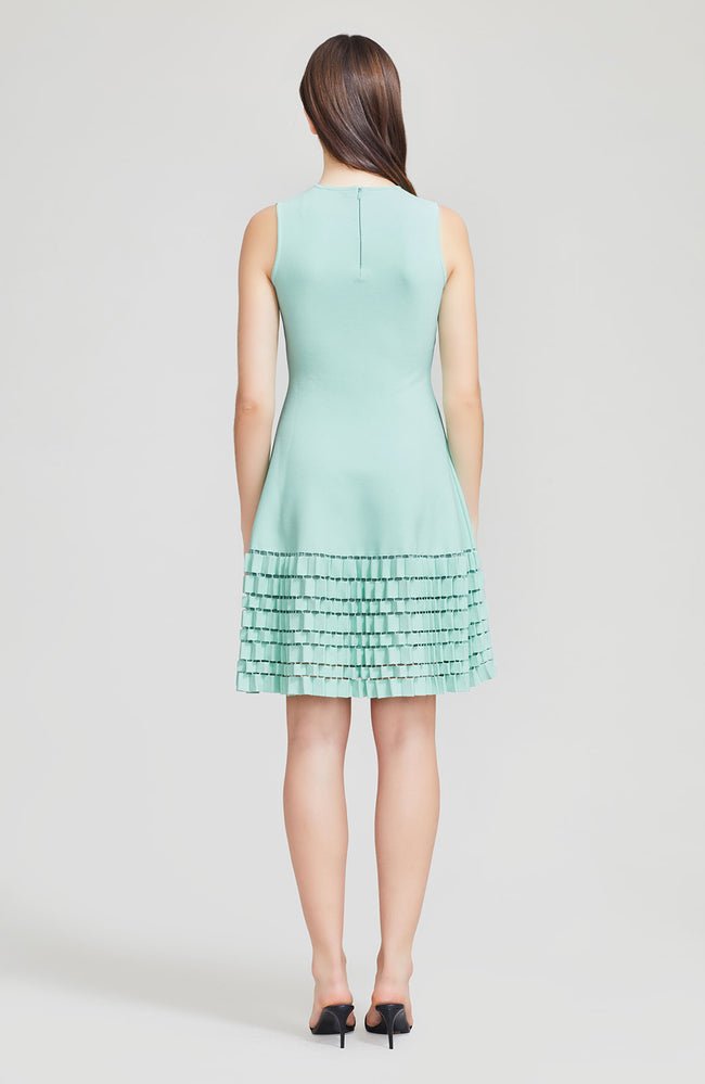 Accordion Detail Knit Flare Hem Dress