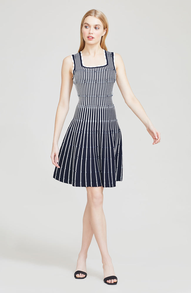 Pinstripe Knit Sleeveless Dress