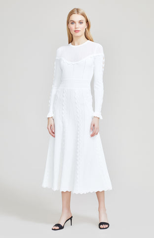 Wave Trim Detail Knit Long Sleeve Midi Dress